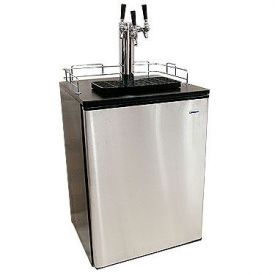Enlarge Haier Kegerator Cabinet with BeverageFactory.com exclusive customizable Triple Faucet Keg Tapping Kit - Black Cabinet with Stainless Steel Door