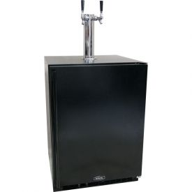 Enlarge Marvel 61HK-BB-F-R-X2D Kegerator Cabinet with BeverageFactory.com X-CLUSIVE 2 Faucet D System Keg Tapping Kit - Black Cabinet with Black Door