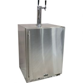 Enlarge Marvel 60HK-SS-B-LR-X2D All Stainless Steel Outdoor Kegerator Cabinet with BeverageFactory.com X-CLUSIVE 2 Faucet D System Tapping Kit