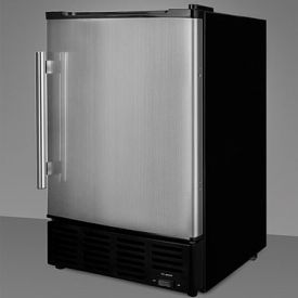 Enlarge Summit BIM24 10 lbs. Built-in Ice Maker - Black Cabinet with Stainless Steel Door