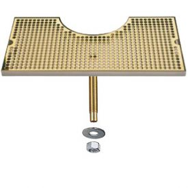 Enlarge BVL-120LDSSPVD - SS Zeus Tower Surface Mount Drip Tray w/PVD Brass Grid