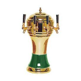 Enlarge Zeus CT900-4BR Ceramic 4-Faucet Draft Beer Tower - Green w/ Brass Finish