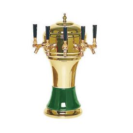 Enlarge Zeus CT900-5BR Ceramic 5-Faucet Draft Beer Tower - Green w/ Brass Finish