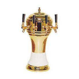 Enlarge Zeus CT901-4BR Ceramic 4-Faucet Draft Beer Tower - White w/ Brass Finish
