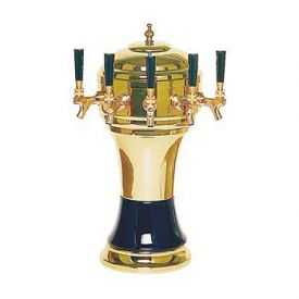 Enlarge CT902-5BR Zeus Ceramic 5-Faucet Draft Beer Tower - Black w/ Brass Finish