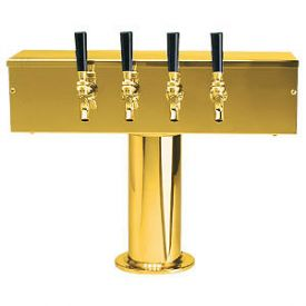 Enlarge DS-254-PVD PVD Brass Four Faucet T-Style Draft Tower - 4 Inch Column