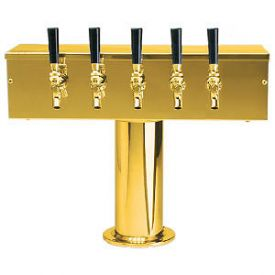 Enlarge DS-255-PVD PVD Brass Five Faucet T-Style Draft Tower - 4 Inch Column