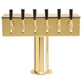 Enlarge DS-256-PVD PVD Brass Six Faucet T-Style Draft Tower - 4 Inch Column