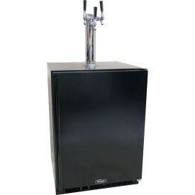 Enlarge Marvel 61HK-BB-F-R-X3D Kegerator Cabinet with BeverageFactory.com X-CLUSIVE 3 Faucet D System Keg Tapping Kit - Black Cabinet with Black Door
