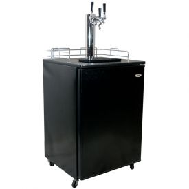 Enlarge Haier Kegerator Cabinet with BeverageFactory.com exclusive customizable Triple Faucet Keg Tapping Kit - Black Cabinet with Black Door