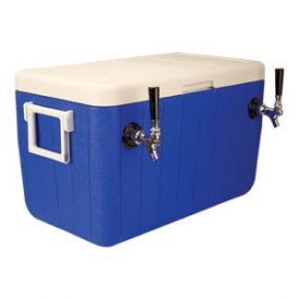 Enlarge HDCP-D2-48 - Double Faucet Jockey Box - 48 Qt. Cold Plate Cooler - Blue