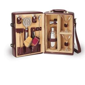 Enlarge Manhattan Portable Cocktail Service - Mahogany & Tan