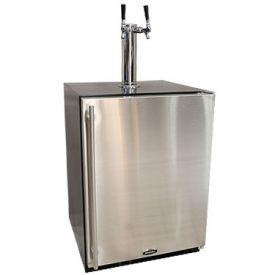 Enlarge Marvel 61HK-BS-F-X-2D Kegerator Cabinet with BeverageFactory.com X-CLUSIVE 2 Faucet D System Keg Tapping Kit - Black Cabinet with Stainless Steel Door