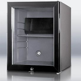 Enlarge Open Box - Summit MB25LGL Silent Hotel Minibar Refrigerator - Charcoal Grey with Glass Door