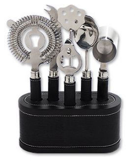 Enlarge Metrokane 7402 VIP Bar Tool Set - Black Leather