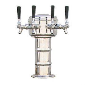 Enlarge MTM-4PSS Chrome 4 Faucet Mini-Mushroom Draft Beer Tower - 4 Inch Column