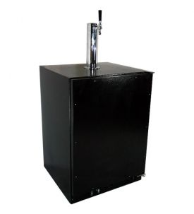 Enlarge Marvel 61HK-BB-O-R-X1 Built-in Kegerator Cabinet with BeverageFactory.com X-CLUSIVE Premium Direct Draw Kit - Black Cabinet with Custom Overlay Door