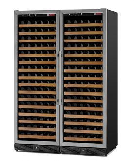 Enlarge Allavino MWR-2X1681-SS 340 Bottle Dual Zone Wine Cellar -  Side By Side - Black Cabinet with Stainless Door