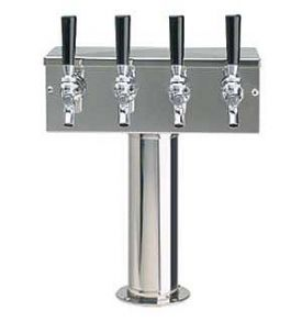 Enlarge D7744PSS Stainless Steel 4 Faucet T-Style Draft Beer Tower - 3 Inch Column