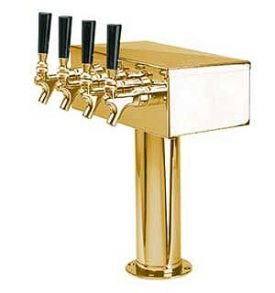 Enlarge D7744PVD PVD Brass 4 Faucet T-Style Draft Tower - 3 Inch Column