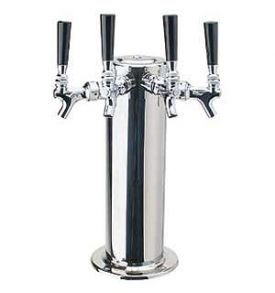 Enlarge DS-144-PSS Polished Stainless Steel 4 Faucet Draft Beer Tower - 4 Inch Column