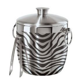 Enlarge Oggi 7401 Stainless Steel Zebra Double Wall Ice Bucket with Tongs