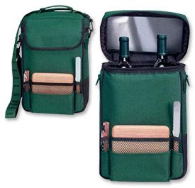 Enlarge Picnic Time Duet Insulated Wine & Cheese Tote - Hunter Green w/Black Trim