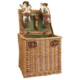 Enlarge Vino Wine & Cheese Picnic Basket - Pine Green w/ Purple Grape Linens