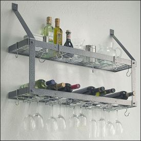 Enlarge Rogar 8301 Wall Mounted Double-Tier Wine Glass & Bottle Rack - Hammered Steel
