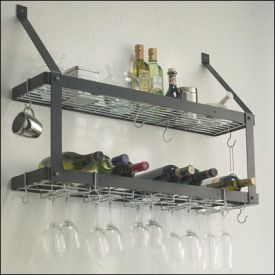 Enlarge Rogar 8315 Wall Mounted Double-Tier Wine Glass & Bottle Rack - Black