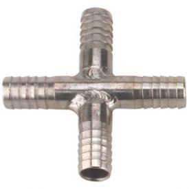 Enlarge Stainless Steel Cross Fitting for 3/8 Inch I.D. Tubing