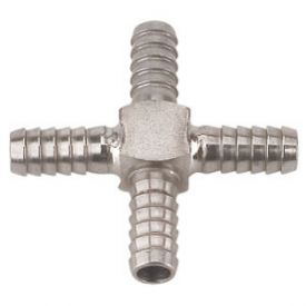 Enlarge Stainless Steel Cross Fitting for 5/16 Inch ID Tubing