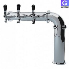 Enlarge PS189-3 Stainless Steel Persey 3 Faucet Elbow Style Draft Beer Tower - 3.3 Inch Column - Glycol Cooled