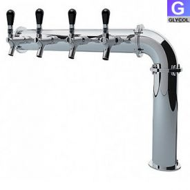 Enlarge PS190-4 Stainless Steel Persey 4 Faucet Elbow Style Draft Beer Tower - 3.3 Inch Column - Glycol Cooled