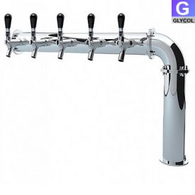Enlarge PS192-5 Stainless Steel Persey 5 Faucet Elbow Style Draft Beer Tower - 3.3 Inch Column - Glycol Cooled