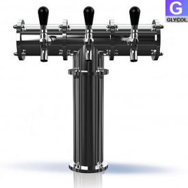 Enlarge TR224-3 Stainless Steel Terra-3 3 Faucet Draft Beer Tower - 3.3 Inch Column - Glycol Cooled