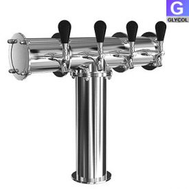 Enlarge TR230-4 Stainless Steel Terra-4 4 Faucet Draft Beer Tower - 3.3 Inch Column - Glycol Cooled