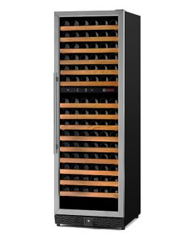 Enlarge Allavino MWR-1682-SSL 170 Bottle Dual-Zone Wine Cellar Refrigerator - Black Cabinet with Stainless Door - Left Hinge