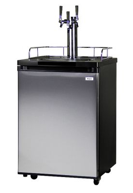 Enlarge Kegco K209SS-3 Triple Faucet Kegerator - Black Cabinet with Stainless Steel Door