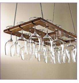 Enlarge Hanging Mahogany Wine Glass Rack