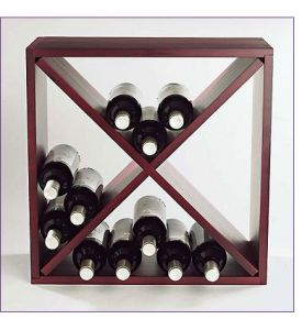 Enlarge 24-Bottle Pine Compact Cube Wine Rack - Mahogany
