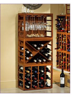 Enlarge Cube Stack Wine Bottle & Glass Rack Set